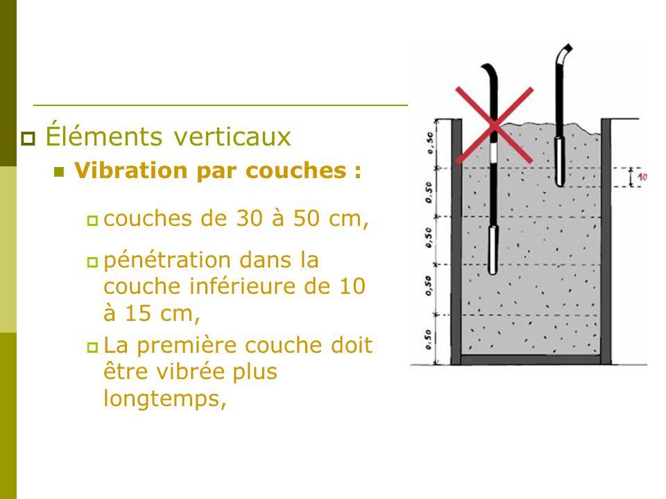 Éléments verticaux Vibration par couches : couches de 30 à 50 cm,