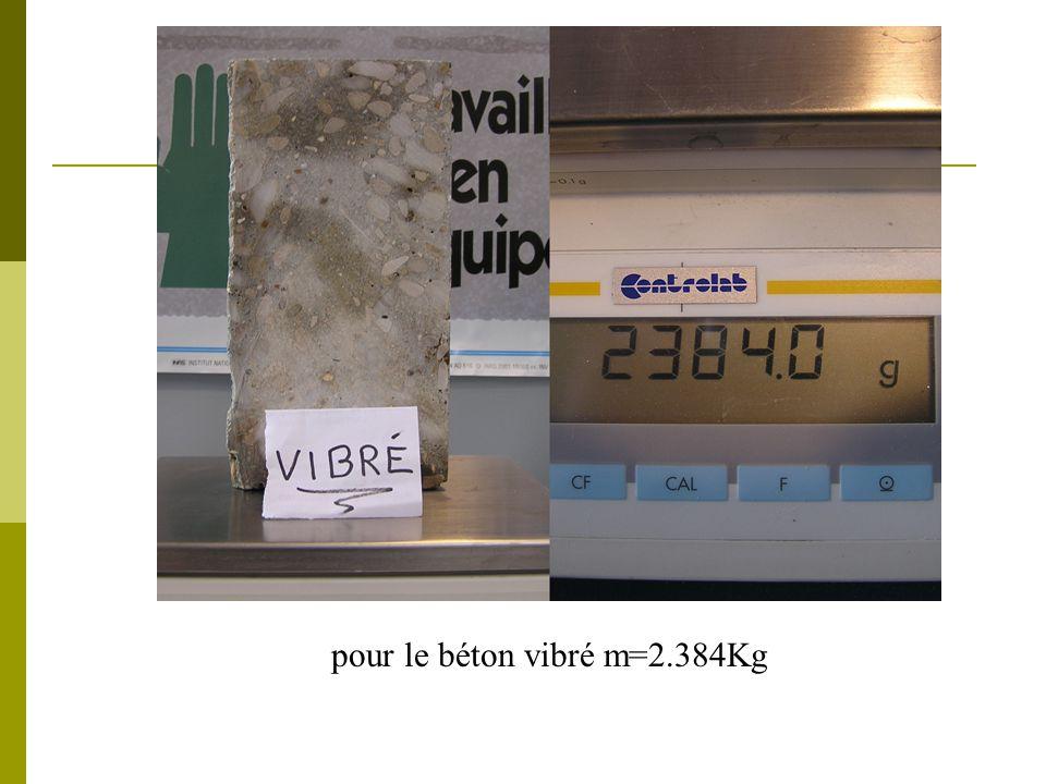 pour le béton vibré m=2.384Kg
