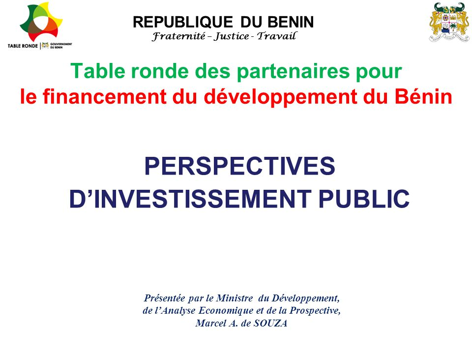 PERSPECTIVES D'INVESTISSEMENT PUBLIC