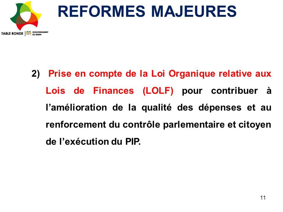 REFORMES MAJEURES