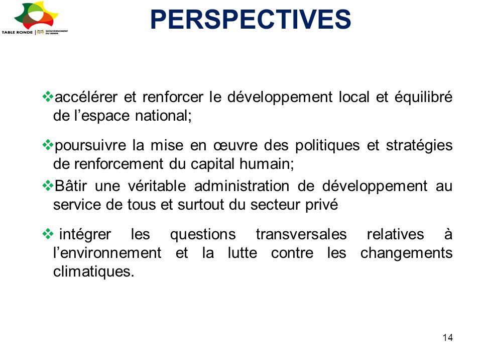 PERSPECTIVES accélérer et renforcer le développement local et équilibré de l'espace national;