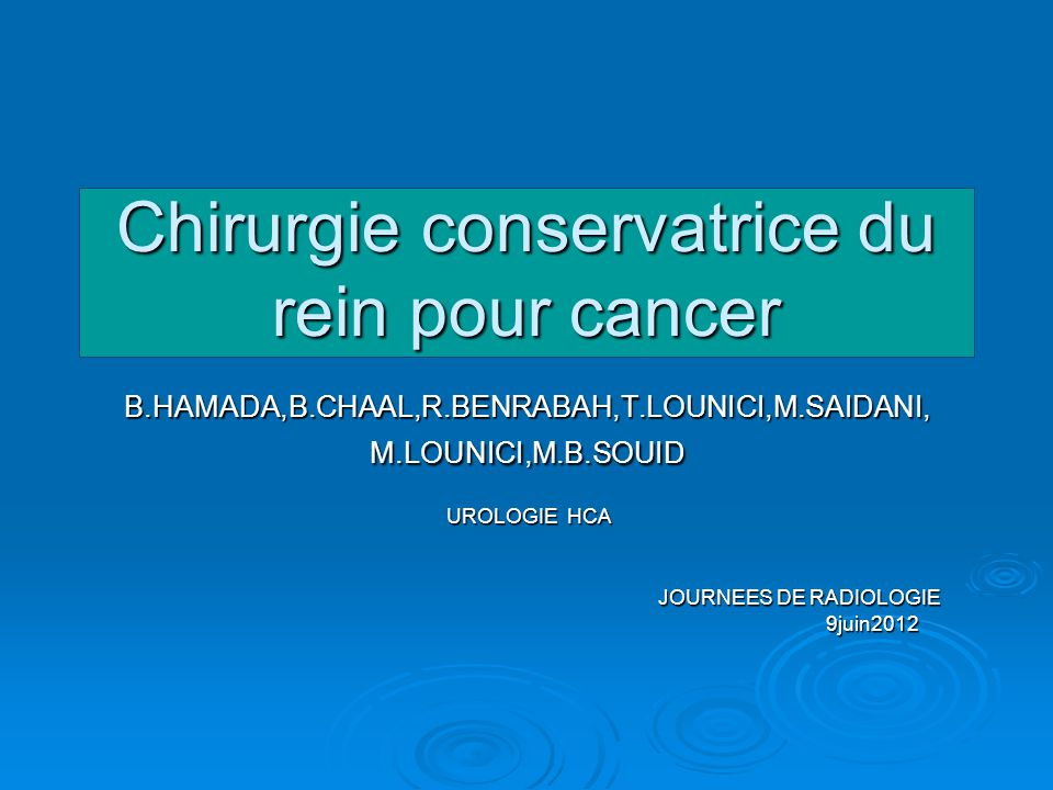 Chirurgie conservatrice du rein pour cancer