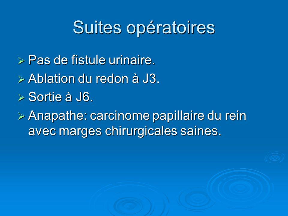 Suites opératoires Pas de fistule urinaire. Ablation du redon à J3.