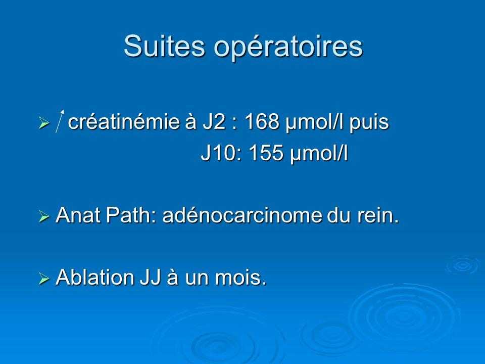 Suites opératoires créatinémie à J2 : 168 µmol/l puis J10: 155 µmol/l