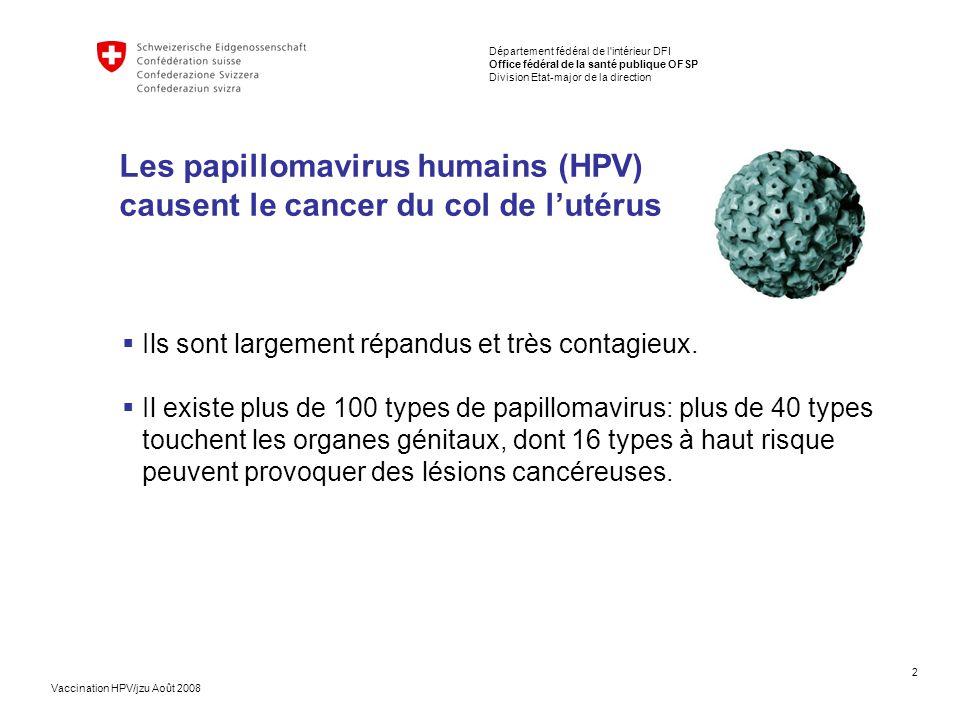 Les papillomavirus humains (HPV) causent le cancer du col de l'utérus