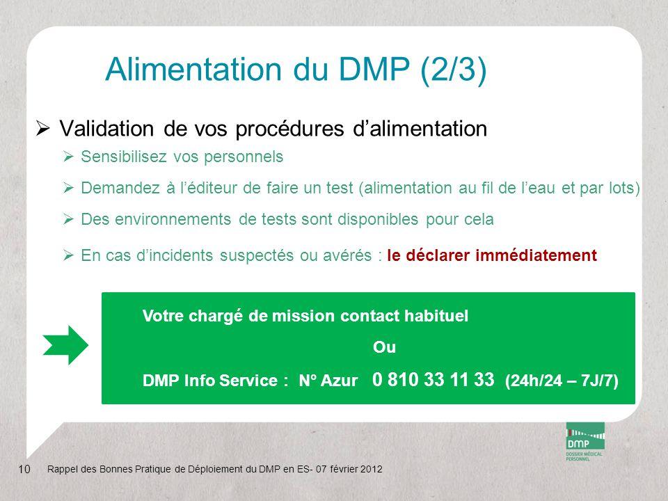 Alimentation du DMP (2/3)
