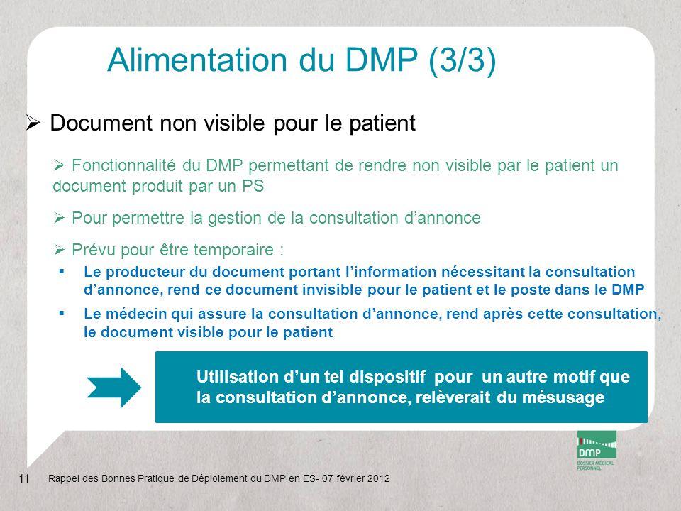 Alimentation du DMP (3/3)