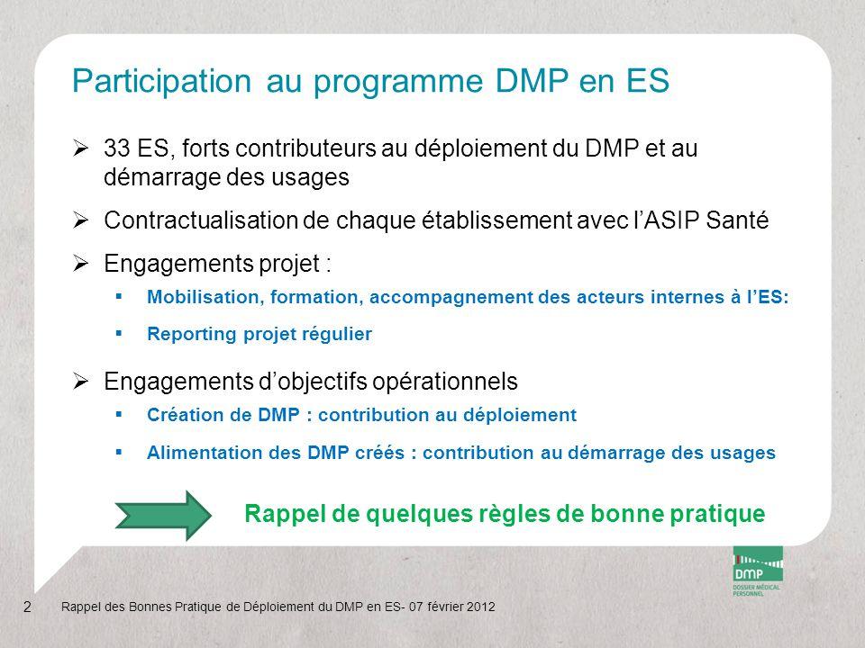 Participation au programme DMP en ES