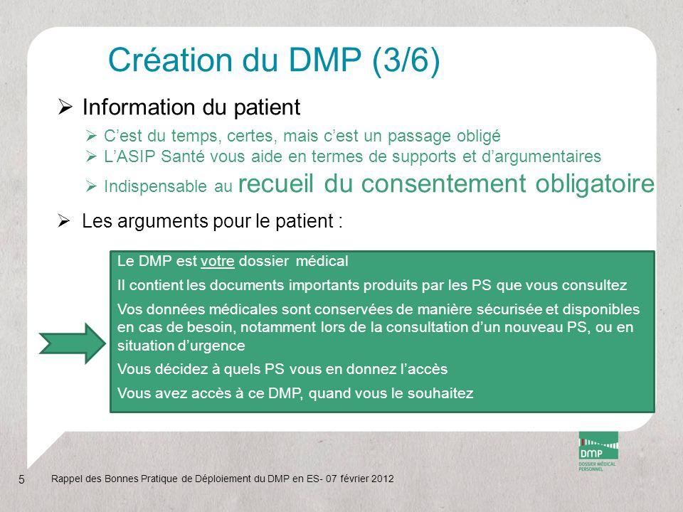 Création du DMP (3/6) Information du patient