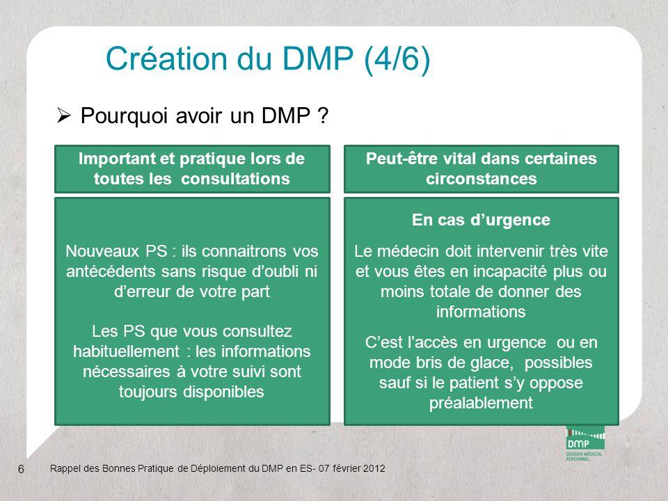 Création du DMP (4/6) Pourquoi avoir un DMP