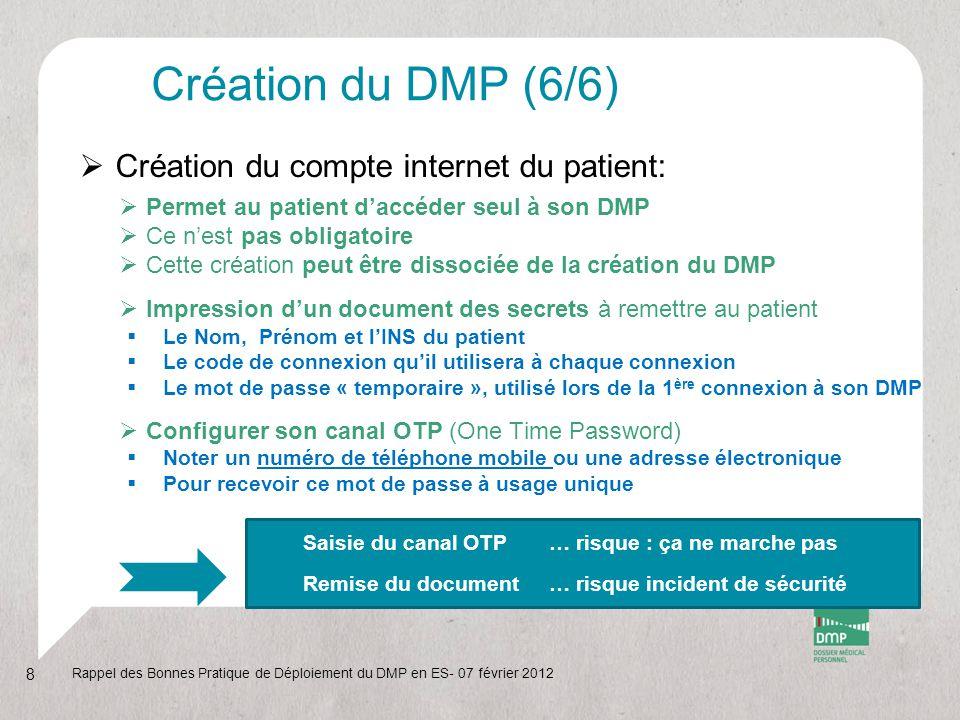 Création du DMP (6/6) Création du compte internet du patient: