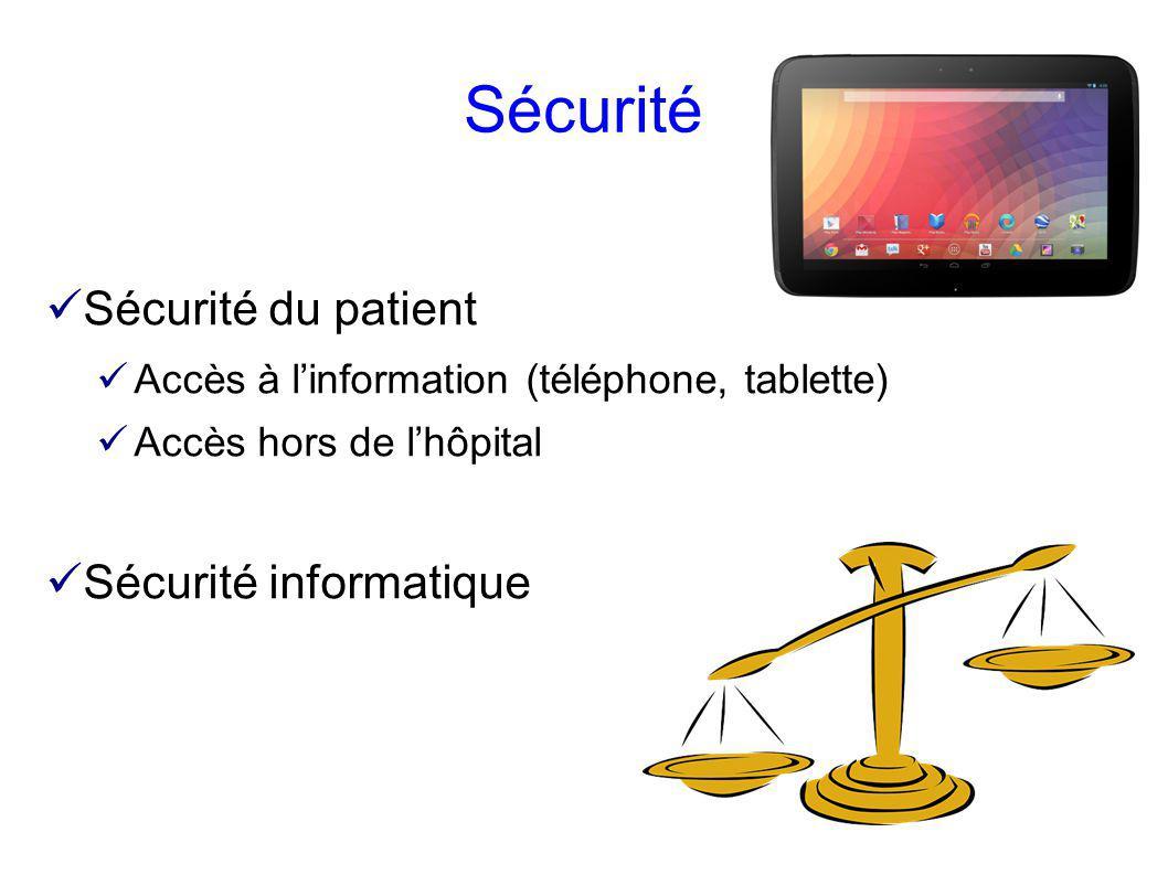 Sécurité Sécurité du patient Sécurité informatique