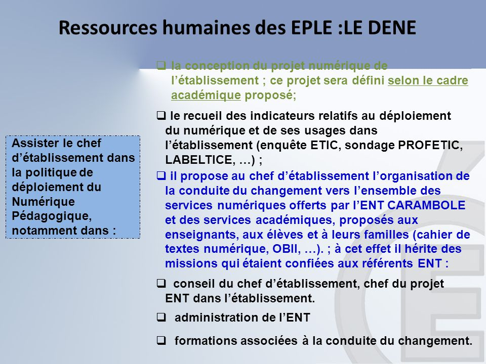 Ressources humaines des EPLE :LE DENE