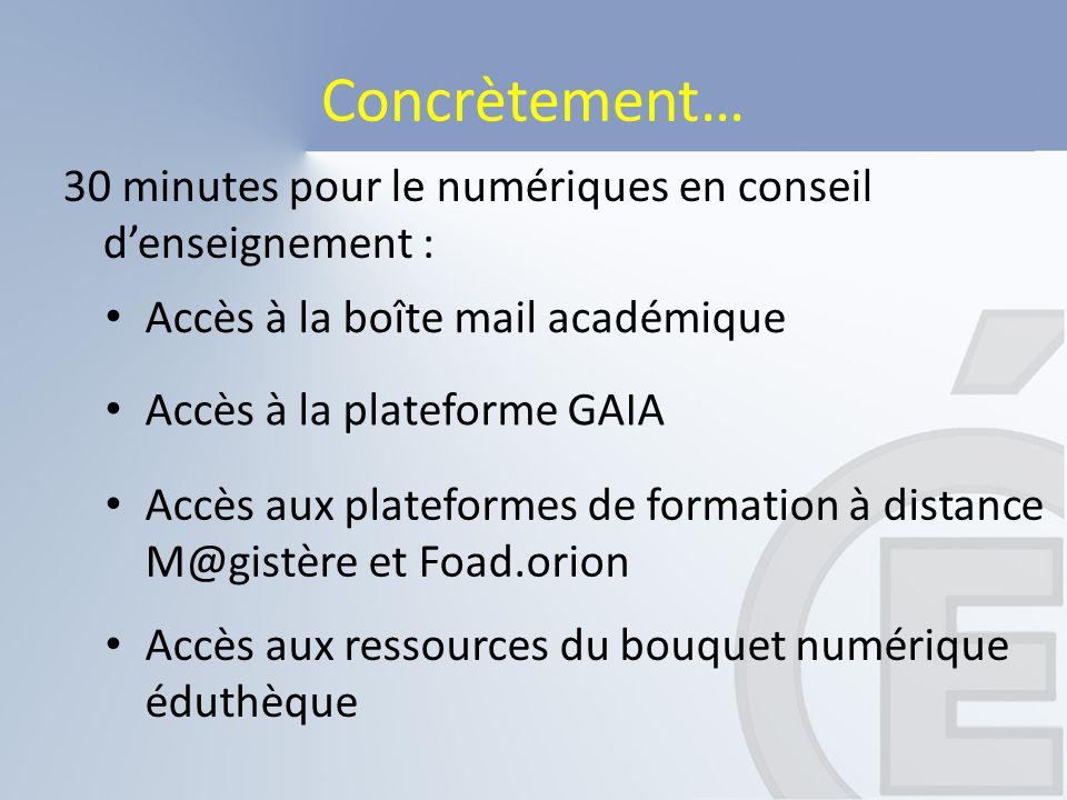 Concrètement… 30 minutes pour le numériques en conseil d'enseignement : Accès à la boîte mail académique.