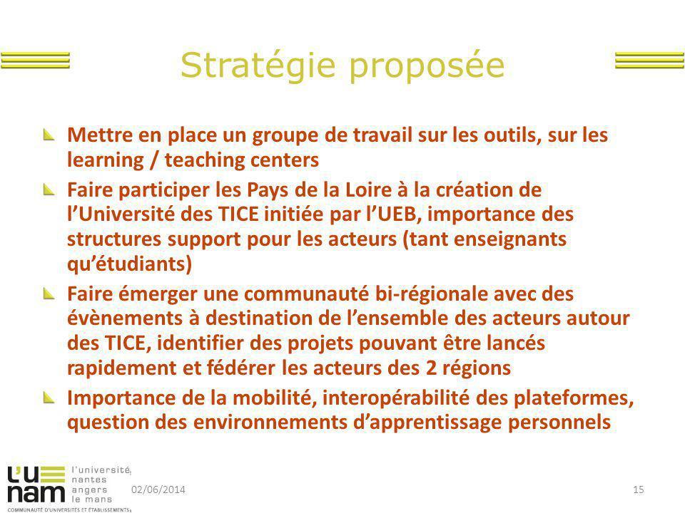 Stratégie proposée Mettre en place un groupe de travail sur les outils, sur les learning / teaching centers.