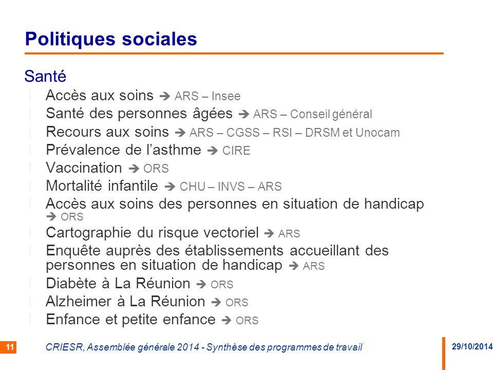 Politiques sociales Santé Accès aux soins  ARS – Insee