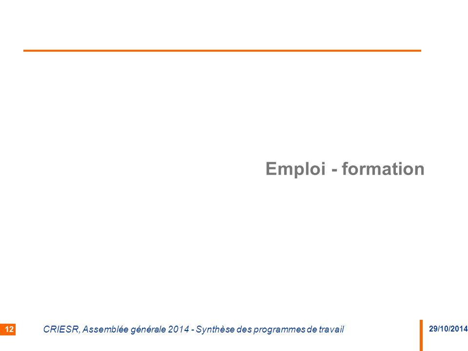 Emploi - formation CRIESR, Assemblée générale 2014 - Synthèse des programmes de travail 29/10/2014