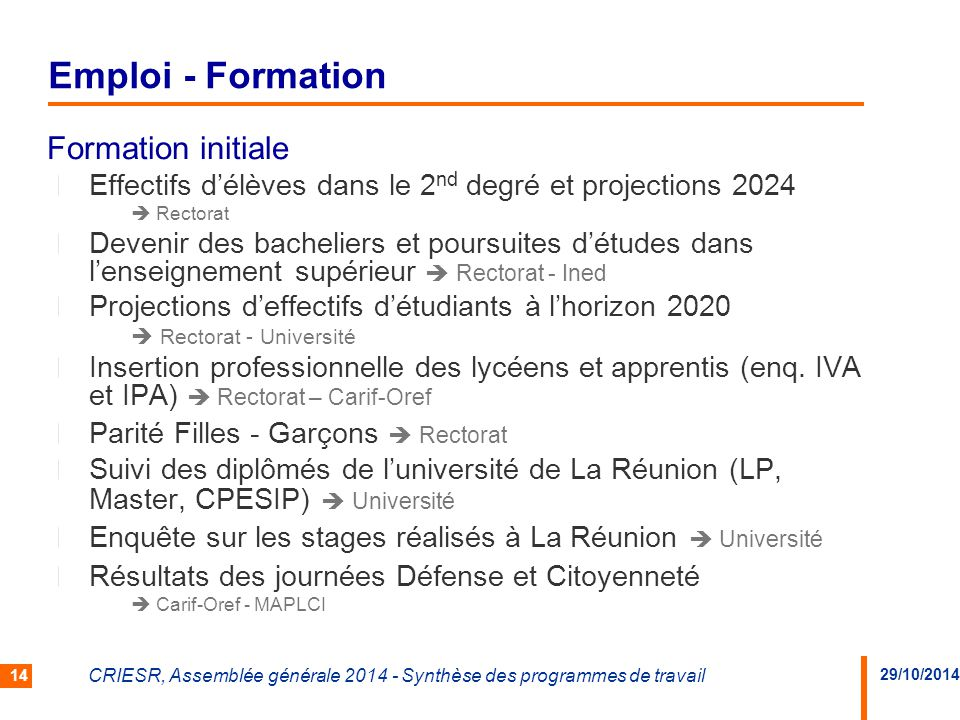 Emploi - Formation Formation initiale