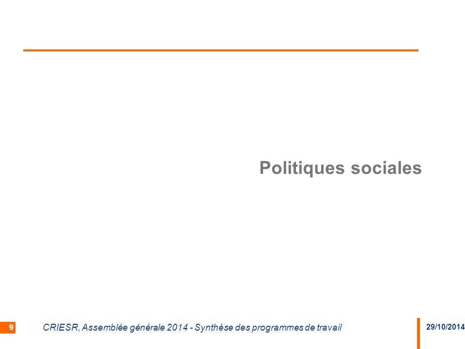 Politiques sociales CRIESR, Assemblée générale 2014 - Synthèse des programmes de travail 29/10/2014