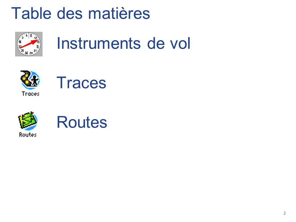 Table des matières Instruments de vol Traces Routes