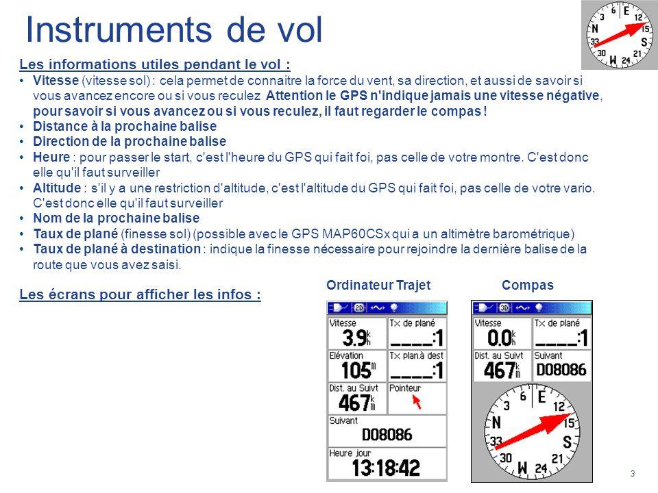 Instruments de vol Les informations utiles pendant le vol :
