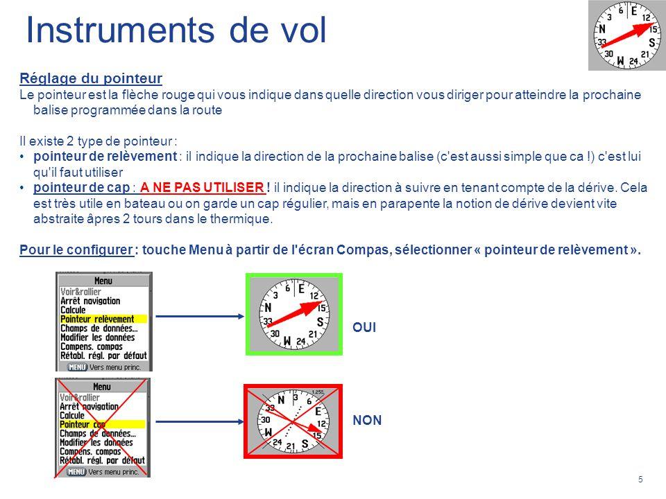 Instruments de vol Réglage du pointeur