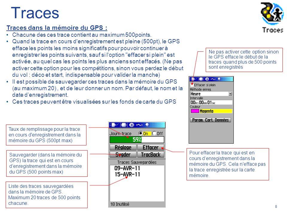 Traces Traces dans la mémoire du GPS :