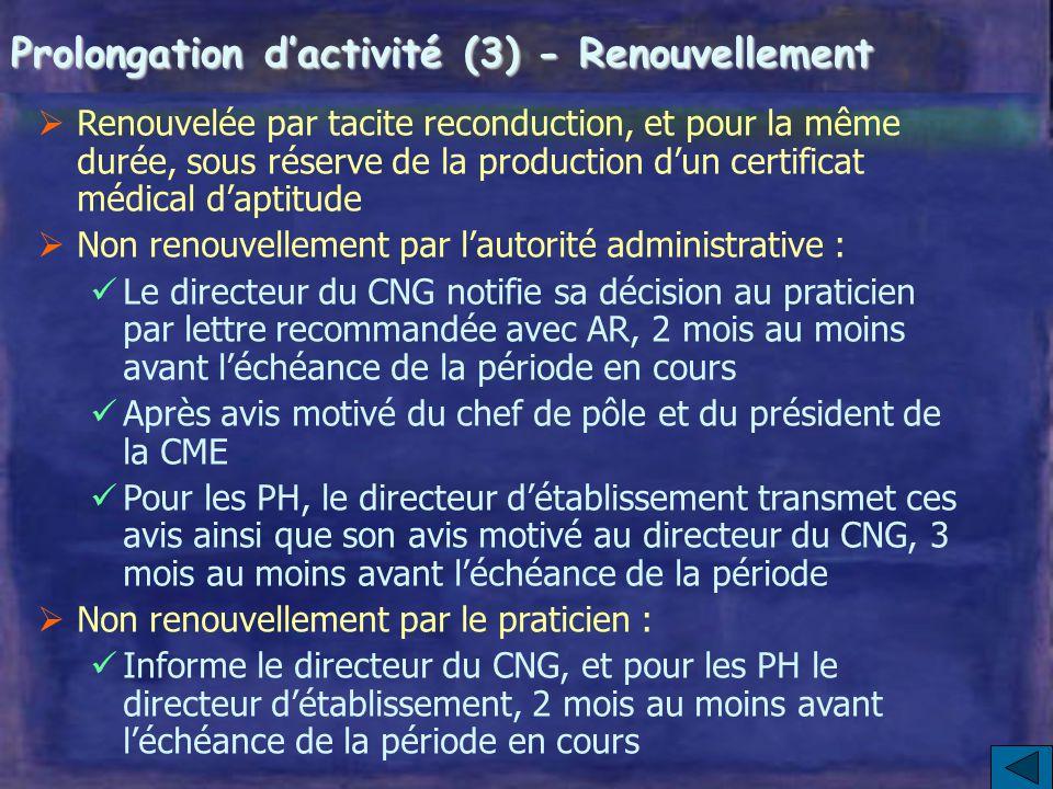 Prolongation d'activité (3) - Renouvellement