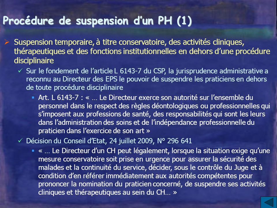 Procédure de suspension d'un PH (1)