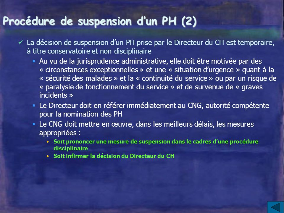 Procédure de suspension d'un PH (2)