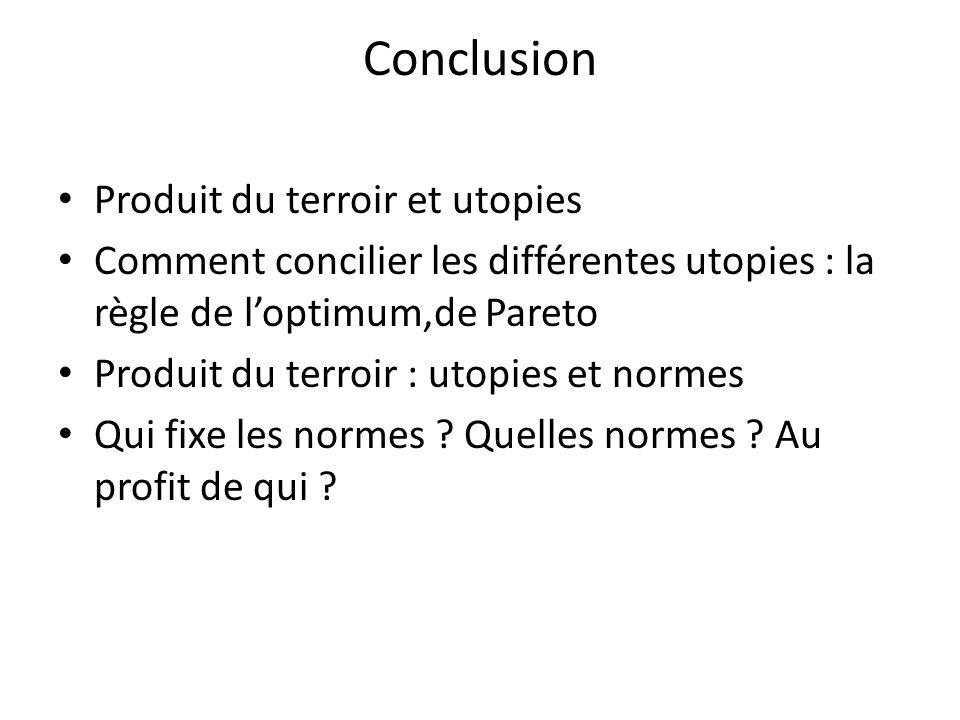 Conclusion Produit du terroir et utopies