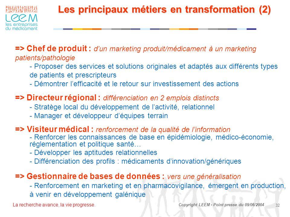 Les principaux métiers en transformation (2)