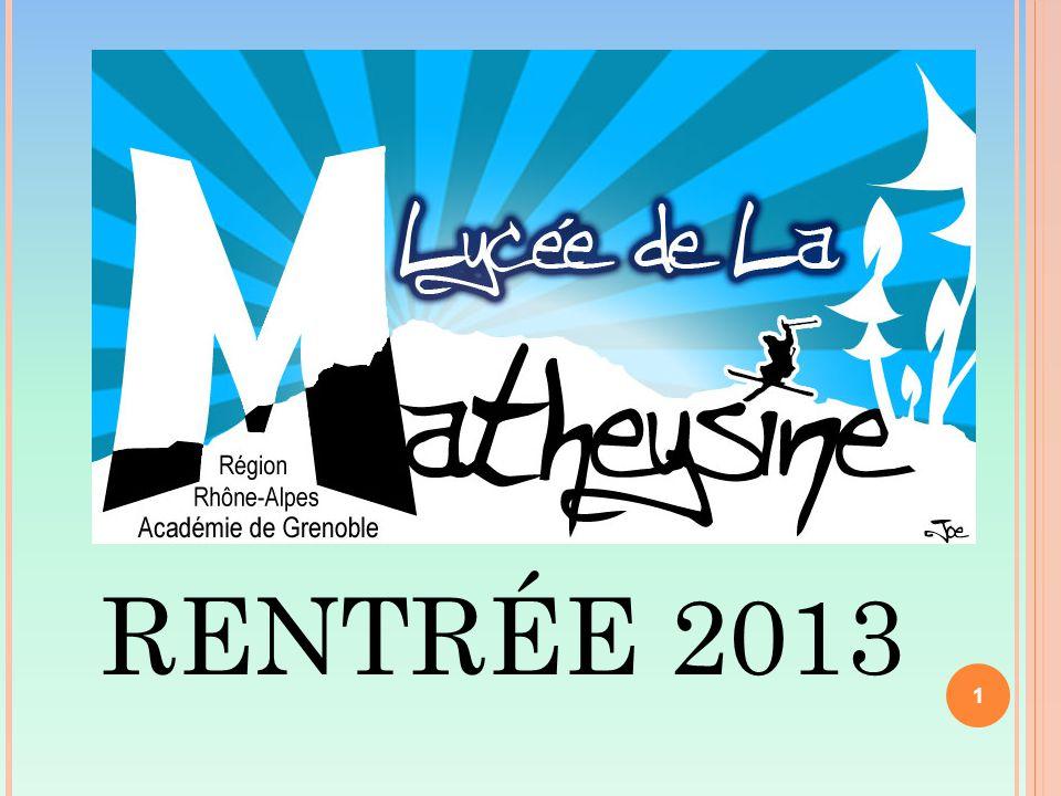 1 RENTRÉE 2013 1