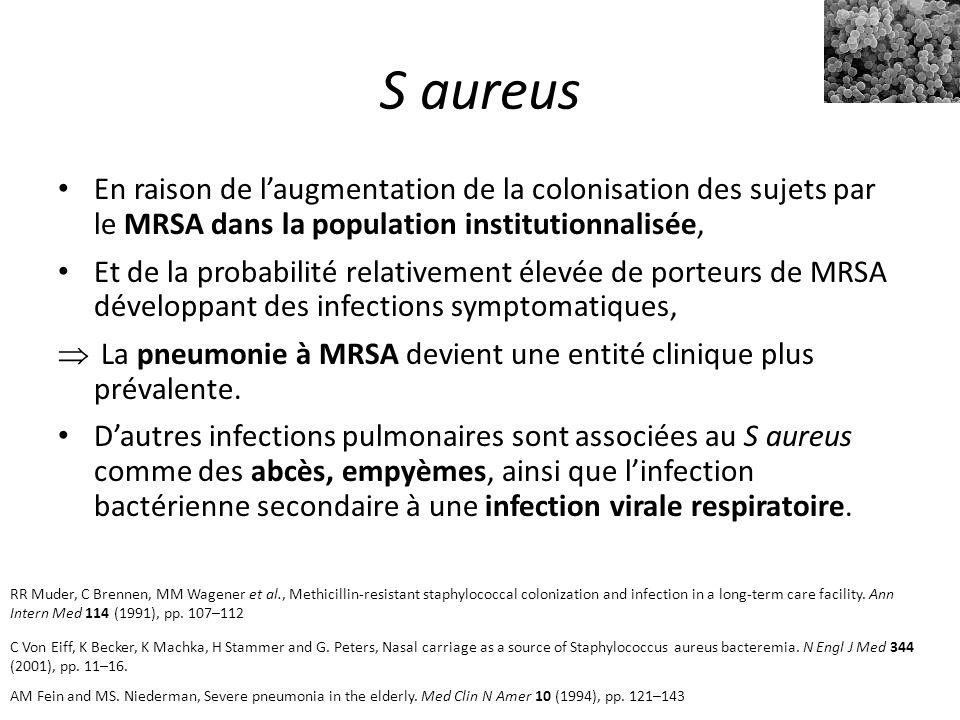 S aureus En raison de l'augmentation de la colonisation des sujets par le MRSA dans la population institutionnalisée,