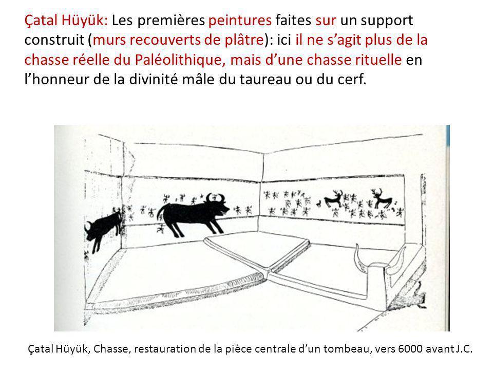 Çatal Hüyük: Les premières peintures faites sur un support construit (murs recouverts de plâtre): ici il ne s'agit plus de la chasse réelle du Paléolithique, mais d'une chasse rituelle en l'honneur de la divinité mâle du taureau ou du cerf.