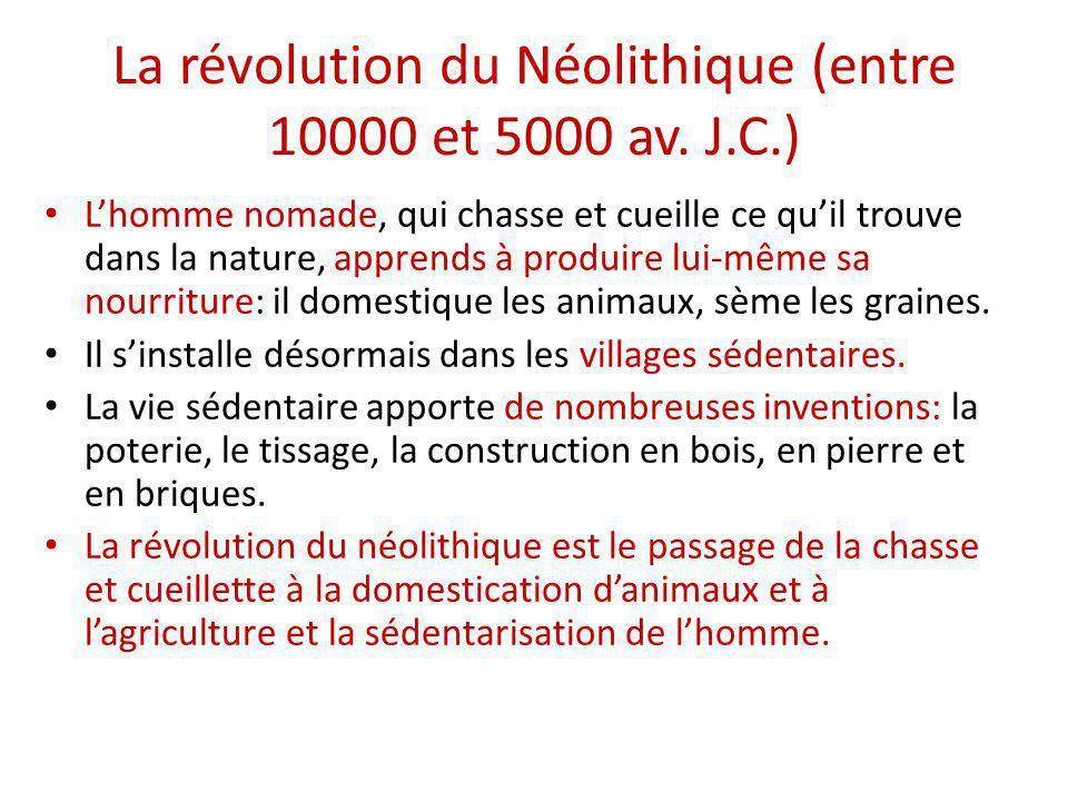 La révolution du Néolithique (entre 10000 et 5000 av. J.C.)