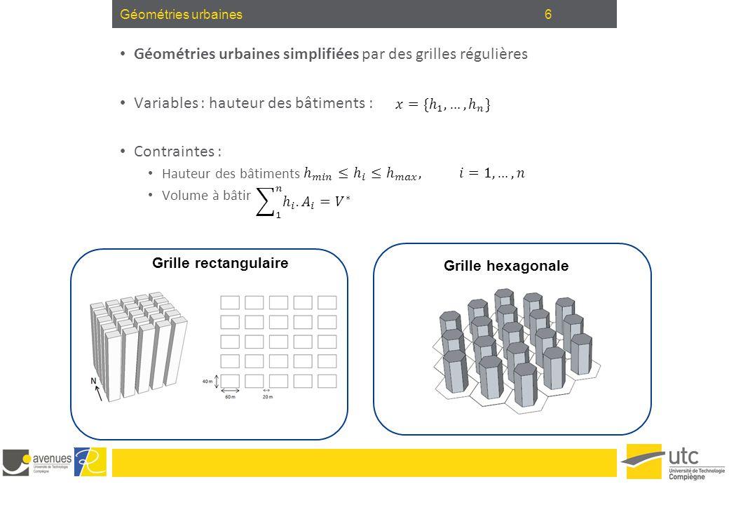 Géométries urbaines simplifiées par des grilles régulières