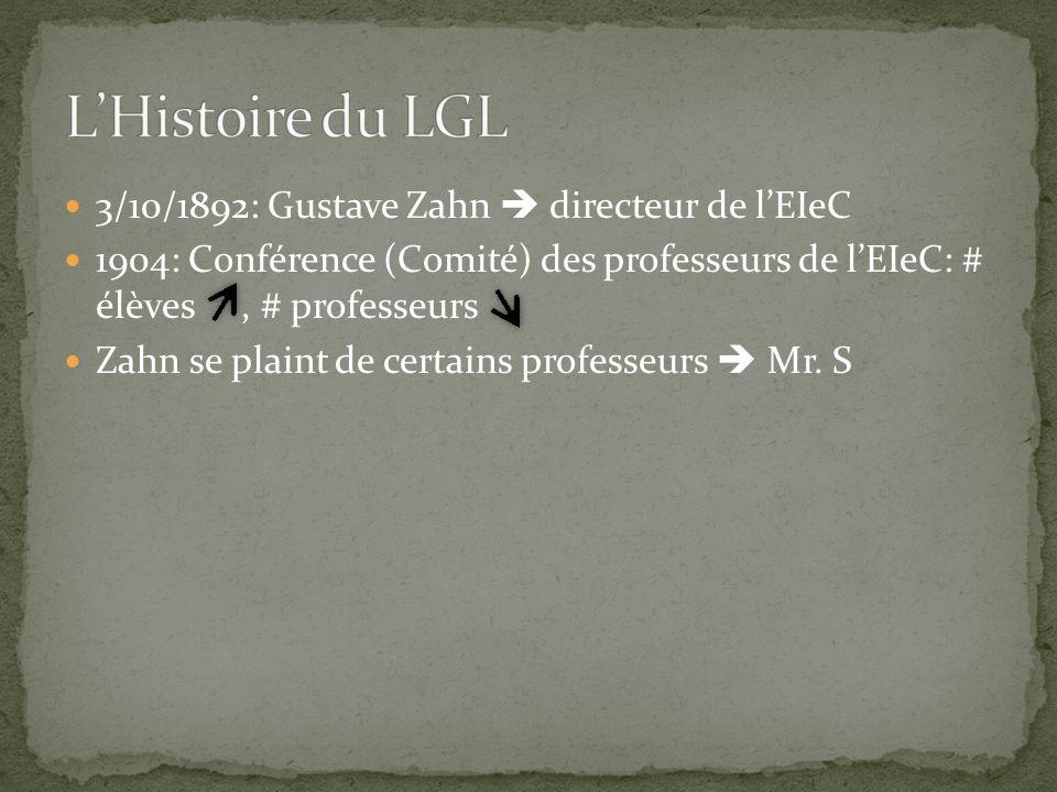 L'Histoire du LGL 3/10/1892: Gustave Zahn  directeur de l'EIeC