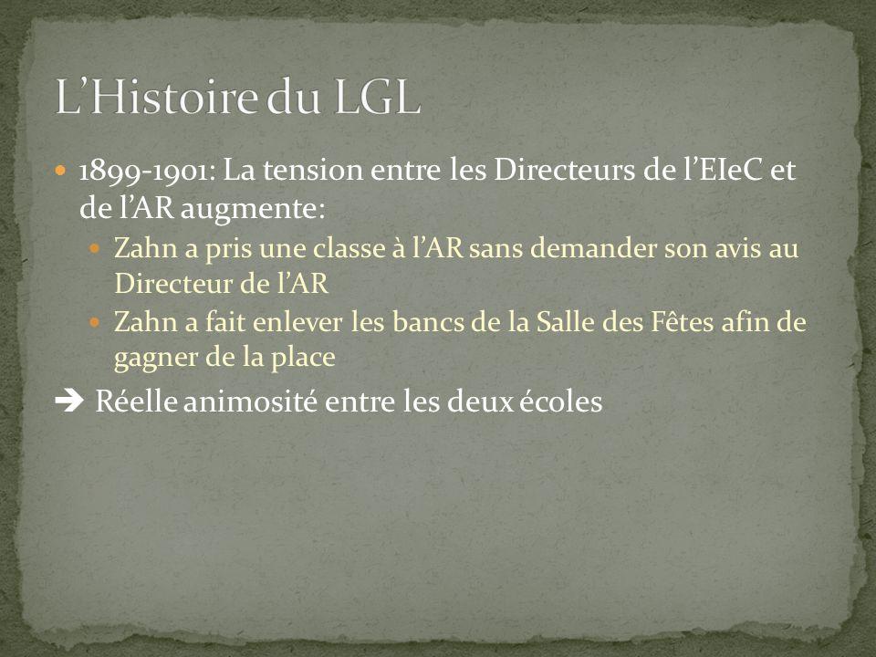 L'Histoire du LGL 1899-1901: La tension entre les Directeurs de l'EIeC et de l'AR augmente: