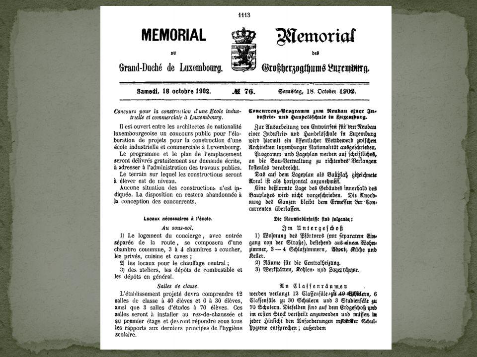 Memorial 18 octobre 1902: concours pour la construcion d'une EIeC à Luxembourg