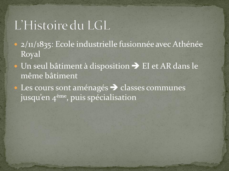 L'Histoire du LGL 2/11/1835: Ecole industrielle fusionnée avec Athénée Royal. Un seul bâtiment à disposition  EI et AR dans le même bâtiment.