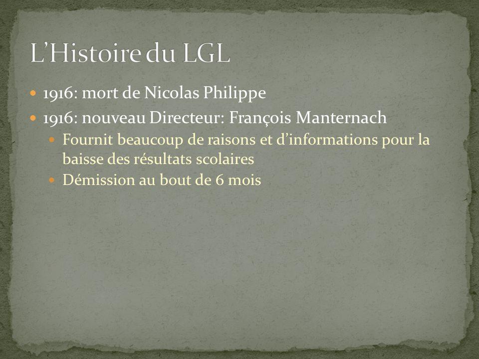 L'Histoire du LGL 1916: mort de Nicolas Philippe