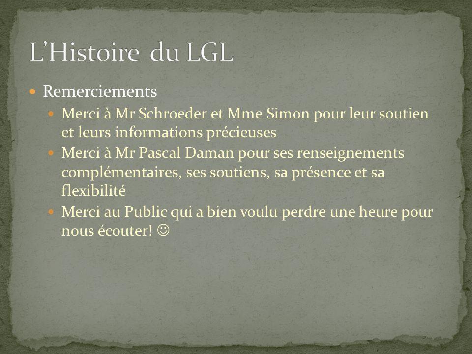 L'Histoire du LGL Remerciements