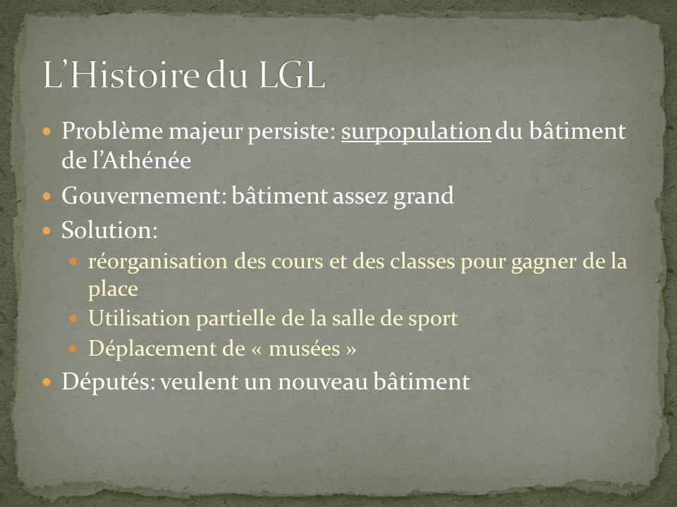 L'Histoire du LGL Problème majeur persiste: surpopulation du bâtiment de l'Athénée. Gouvernement: bâtiment assez grand.