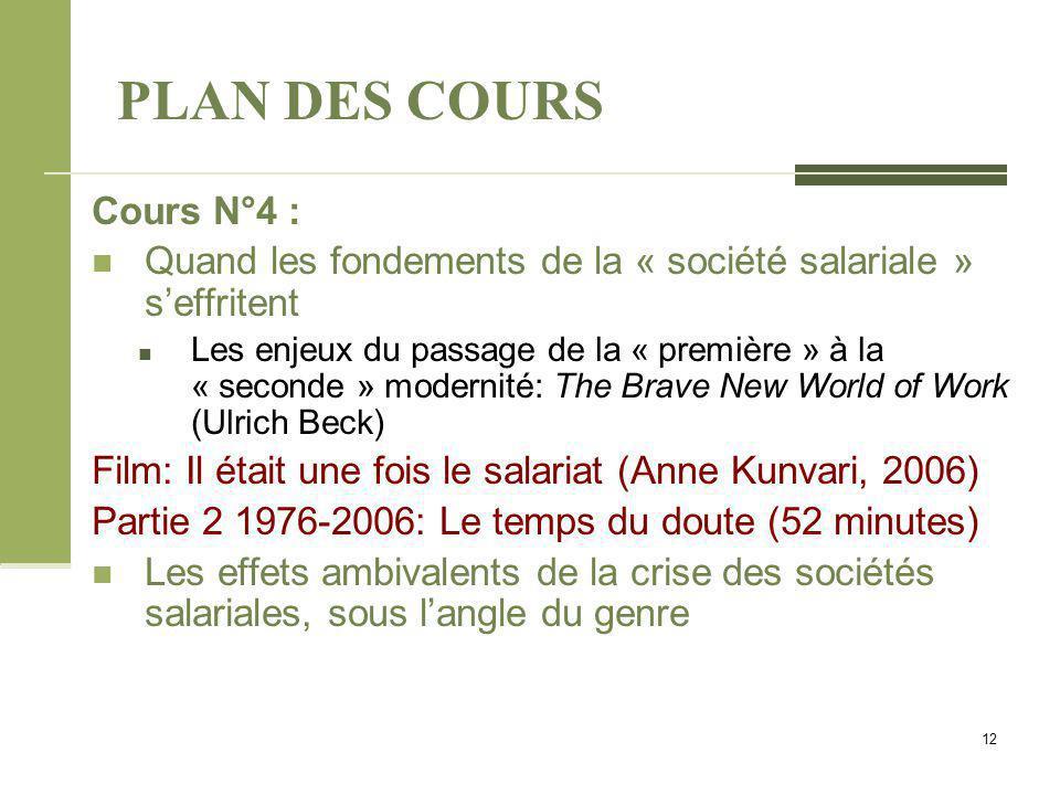 PLAN DES COURS Cours N°4 :