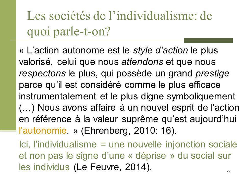 Les sociétés de l'individualisme: de quoi parle-t-on