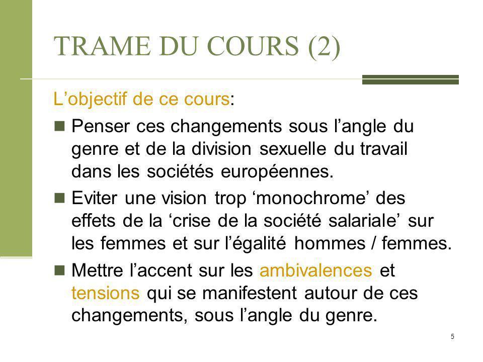 TRAME DU COURS (2) L'objectif de ce cours: