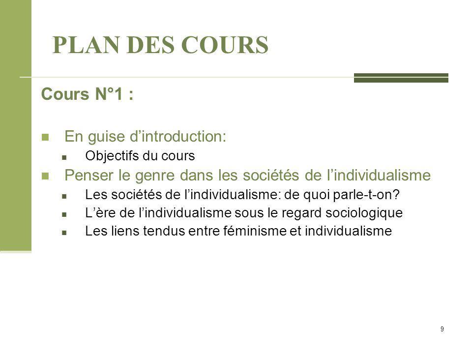PLAN DES COURS Cours N°1 : En guise d'introduction: