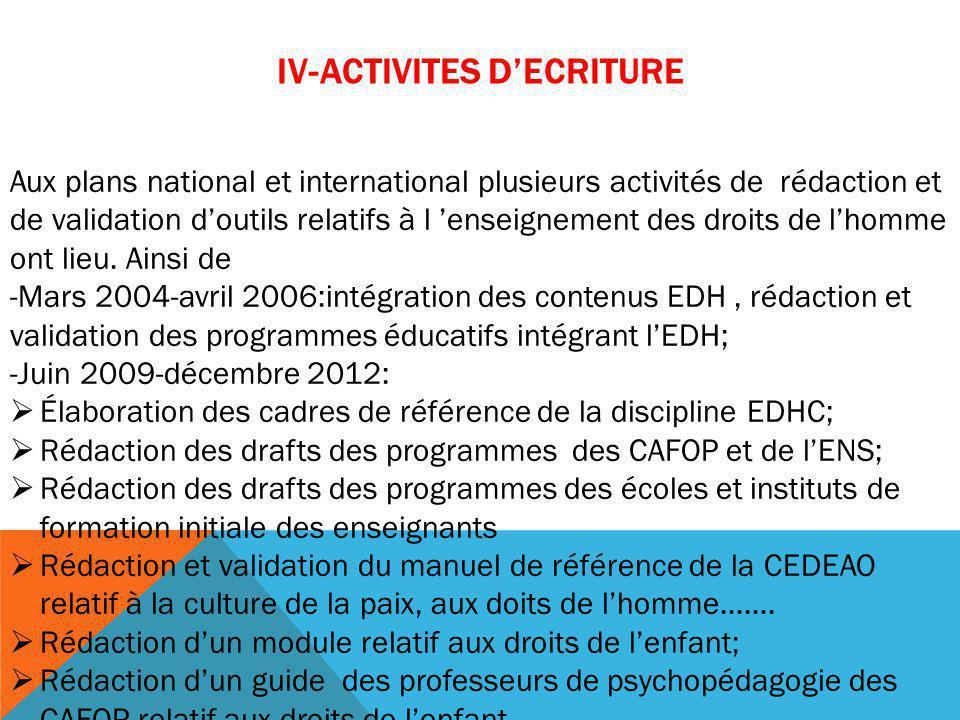 IV-ACTIVITES D'ECRITURE