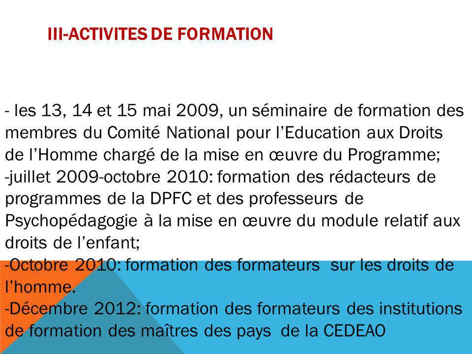 III-ACTIVITES DE FORMATION